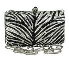 Zebra Black Silver Crystal Metal Evening Bag Clutch Purse w/ Swarovski Crystals
