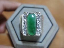 GENUINE STERLING SILVER GREEN JADE GEMSTONE MEN'S RING UNIQUE CLASSIC SZ 9
