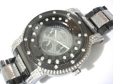 Iced Out Bling Bling Big Case Silver Black Metal Bracelet Men's Watch Item 3649