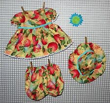 "Handmade Doll Clothes for 20"" - 22"" Baby Dolls ""Apple Orchard"" Dress & Hat Set"
