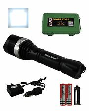 K&K Marken LED Security Taschenlampe + 2 Akkus Strobo Handlampe Flashlight Torch