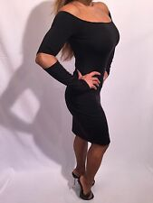 Black Long Sleeved OFF The Shoulder Cocktail Dress with cut out elbows  XL