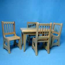 Dollhouse Miniature Kitchen / Dining Room Table with Chairs - Oak  RB0021B