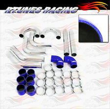 "BLUE 3"" Inches 76mm Turbo/Supercharger Intercooler Polish Pipe Piping Kit CY"