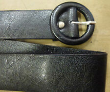 "DESIGNER ""80s"" FASHION STYLE SKINNY 2cm WIDE BLACK CIRCLE BUCKLE  BELT"