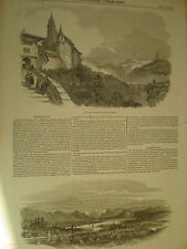 Views of Switzerland Fribourg and Lucerne panorama 1847 old prints my ref S