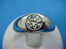 0.85 CARAT OLD MINE DIAMOND GYPSY RING 14K WHITE SOLID GOLD 10.8 GRAMS