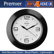 Premier Housewares Black Round Modern Wall Clock with White Face