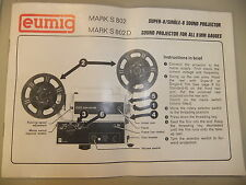 Instructions cine movie projector EUMIG MARK S 802 & 802D - CD/Email