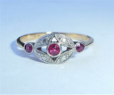 Antique Art Deco 18ct Gold Platinum & Ruby Three Stone Ring, Size L 1/2