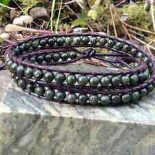 Double Irish Wrap bracelet Connemara marble Real leather.Jewellery Ireland