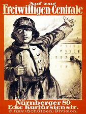 PROPAGANDA POLITICAL MILITARY VOLUNTEER AFTERMATH WAR WWI GERMANY POSTER LV3747