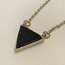 Triangle pendant necklace womens drusy druzy stone gold sparkle designer black