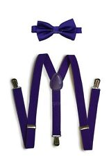 Purple Suspender and Bow Tie Set for Teenagers Adults Men Women (USA Seller)