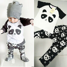 Toddler Kids Baby boys panda Short Sleeve Tops+Pants Outfits Clothes sets 0-9M
