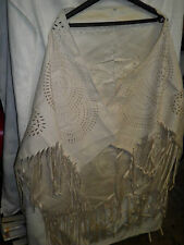 Ladies Ivory Faux Suede Poncho/Shawl with Fringe -  extra layer/Spring Wedding
