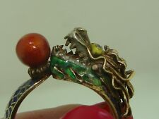 ANTIQUE CHINESE CLOISONNE EMNAMEL DRAGON GOLD PLATED SILVER RING! SZ 7