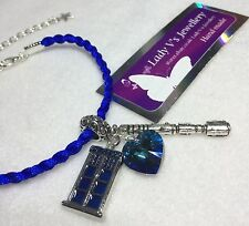 Dr Doctor Who Braided Cord Bracelet with Swarovski Heart, TARDIS & Sonic Charm