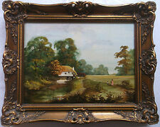 FRAMED OIL ON CANVAS PAINTING signed HORSEWELL MOTHER AND CHILD ON A RURAL TRACK