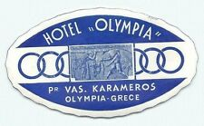 GREECE  HOTEL OLYMPIA VINTAGE LUGGAGE LABEL