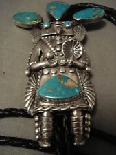 SERIOUS COLLECTOR ALERT! VINTAGE NAVAJO HELEN LONG TURQUOISE SILVER BOLO TIE