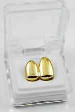 Gold Plated Double Tooth Cap Grillz  Hip Hop Teeth Plain Solid Two Slugs
