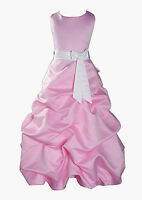 New Flower Girl Party Bridesmaid Pageant Dress 1-13 Y Pink+Sash in 10 Colours