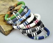 LOT 8PCS Multi Color Young Surfer Cotton Wraps Leather Wristband Bracelet Cuff