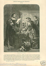 Shylock William Shakespeare's play Design Gilbert GRAVURE ANTIQUE OLD PRINT 1859