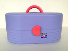 Vintage CABOODLES Purple Pink Sliding Tray Jewelry Box Makeup Case