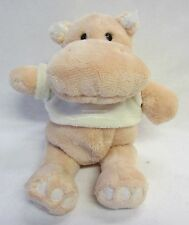 Plush Hippopotamus Soft Toy Button Eyes & Embroidered Mouth & Rattle Baby Gift