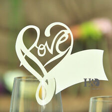 100PCS Ivory Paperboard Love Shape Glass Place Name Cards Wedding Party Decor