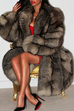 FANTASTIC LUXURIOUS SILVER SAGA FOX REAL FUR COAT JACKET XL HUGE SWEEP STUNNING!
