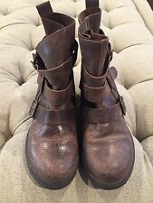 """STEVE MADDEN """"Colony"""" Mid Calf Mocha Brown Leather Distressed Buckle Accent 7.5"""