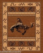 LARGE COUNTRY THEME WESTERN COWBOY TAN BROWN AREA RUG riding bucking horse