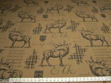 """Wapiti"" elk themed upholstery fabric color parchment ft145"