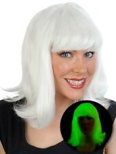 FELICITY GLOW IN THE DARK white to green costume WIG rave.
