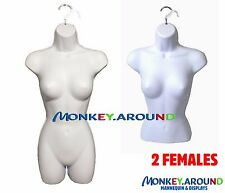 LOT 2 Female Mannequin, White Dress Body Long Torso & Hip Form +2 Hook - Display