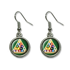 Billiard Balls And Triangle - Pool Table - Novelty Dangling Drop Charm Earrings