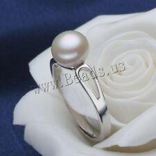 Fashion Women Freshwater Button Pearl Silver Plated Adjustable Ring 7-9 AUHTVDS
