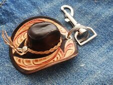 NEW VINTAGE GENUINE LEATHER MINIATURE WESTERN COWBOY HAT KEY CHAIN RING BLACK