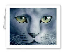 GREY CAT Set of 10 Note Cards With Envelopes