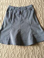 Per Una Blue White Pinstripe Flared Denim Skirt Front Zip Size 16 Summer Holiday
