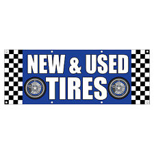 NEW & USED TIRES CAR BODY SHOP REPAIR Sign Banner 4 feet x 2 feet /w 4 Grommets