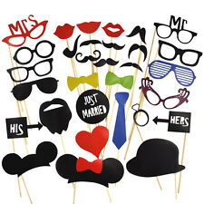 31PCS LOUS DIY Mask Photo Booth Props Mustache On A Stick Wedding Birthday Party