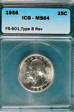 1958-P ICG MS64 FS-901, Type B Rev Washington Quarter!! #B6012