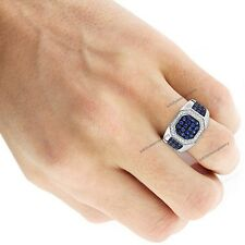 Unique 10K White Gold Diamond & Gemstone Men's Band Ring Luxury Jewelry