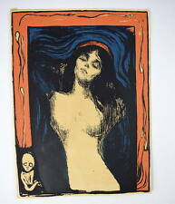 Vtg 70's EDVARD MUNCH Graphic Work Madonna Litho Print Exhibit Poster Wall Art
