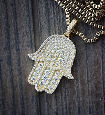 Mens Iced Out Lab Diamond 18k Gold Hamsa Hand Necklace