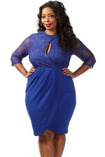 New blue lace sleeve drape Dress plus Size 16-18-20 available